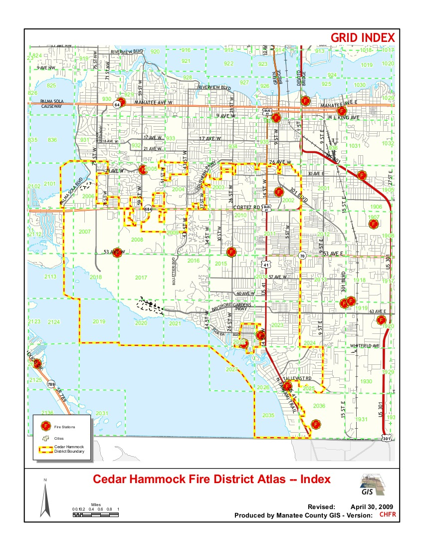Cedar Hammock Fire District Atlas Index, Revised April 30 2009, Produced by Manatee County GIS Version CHFR