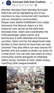 Inspector Chrisman with Suncoast Safe Kids Coalition